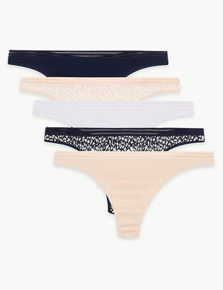 Marks and Spencer 5 Pack Lounge Supima Cotton & Modal Animal Thong