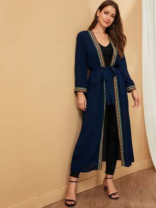 Shein Tribal Tape Self Belted Kimono