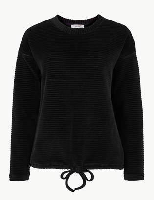 Marks and Spencer Cotton Rich Textured Long Sleeve Sweatshirt