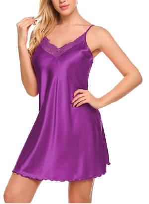 cf0e881cc4 Goldenfox Mini Slip Women s Pajamas Satin Nightgown Sexy Sleepwear Nighty  (Green