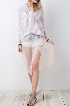 Easel Ivory Net Skirt