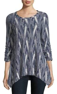 Context Ruched-Sleeve Textured Blouse