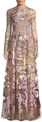 Valentino Women's Long-Sleeve Patch Gown