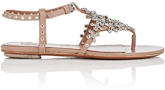 Alaia Women's Flower-Embellished Leather Thong Sandals