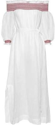 Lisa Marie Fernandez Off-The-Shoulder Smocked Linen-Gauze Midi Dress