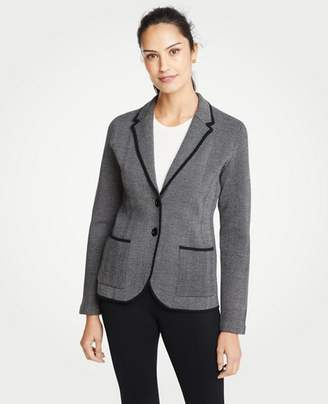 Ann Taylor Petite Herringbone Two Button Sweater Blazer