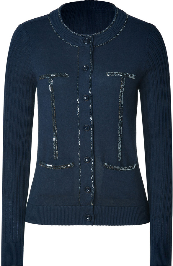 Marc by Marc Jacobs Ink Blue Beaded Nona Cardigan