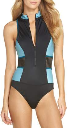 Zella Element Zip One-Piece Swimsuit