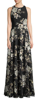 Carmen Marc Valvo Sleeveless Floral-Sequin Gown