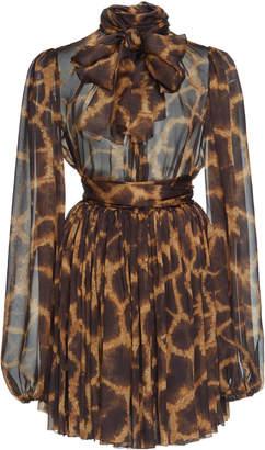 Dolce & Gabbana Animal Print Silk Mini Dress