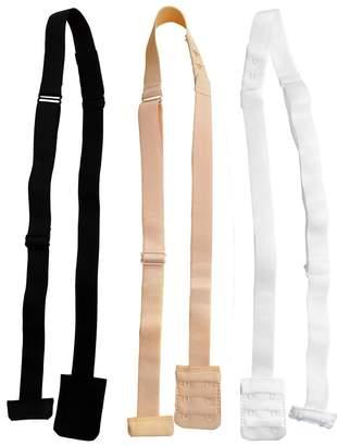 50d03875c6 BEIGE DoHope Women s Adjustable Low Back Bra Converter Straps 2 Hook Black  White 3pcs
