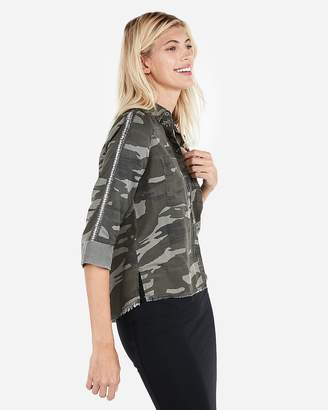 Express Camo Beaded Sleeve Shirt