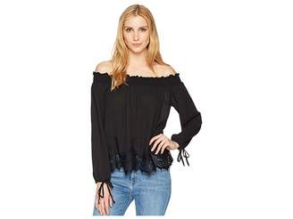Wrangler Off the Shoulder Top with Scalloped Lace