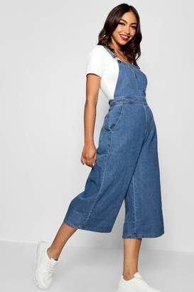 boohoo Wide Leg Cropped Rigid Denim Dungaree