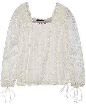 Love Sam Crochet-Trimmed Broderie Anglaise Gauze Blouse