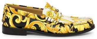 Versace Vitello Leather Printed Loafers