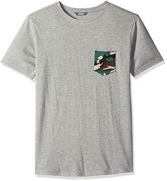 ROBUST Men's Grey Melange Half Sleeve Round Neck T-Shirt with Army Print Pocket (Size-)