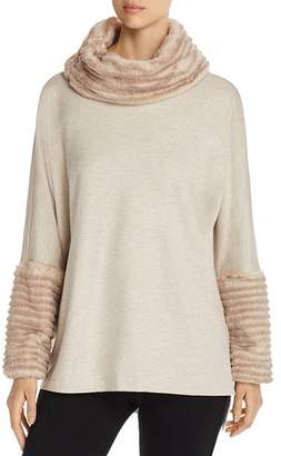 Capote Faux-Fur-Trimmed Cowl-Neck Sweater