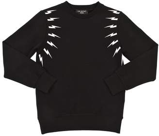 Neil Barrett Lightning Bolt Printed Cotton Sweatshirt