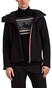 Moncler Men's Stripe-Trimmed Tech-Fabric Wind-Stopper Jacket - Black