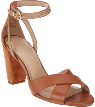b2e68068ede at QVC · Halston H By H by Leather   Suede Strappy Block Heel Sandals -  Kaelyn