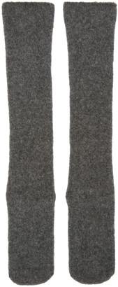 Isabel Benenato Grey Knit Merino Socks $130 thestylecure.com