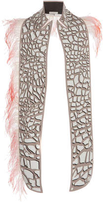 Mary Katrantzou Feather-Embellished Giraffe-Print Faux Leather Shawl