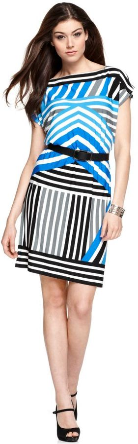 London Times Dress, Short Sleeve Belted Geometric Printed