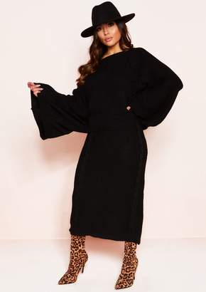 51b2a294c4bcf Missy Empire Missyempire Abbey Black Cable Knit Wide Sleeve Co-ord Set