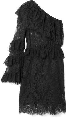 Dundas - Ruffled One-shoulder Cotton-blend Lace Mini Dress - Black