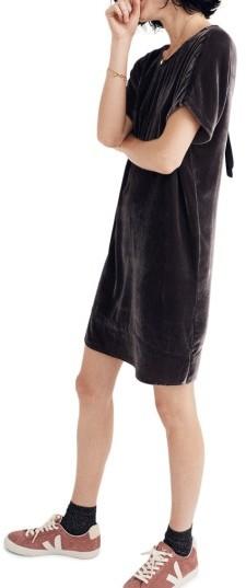 Madewell Velvet Bow Back Shift Dress