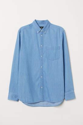 H&M Regular Fit Denim Shirt - Blue