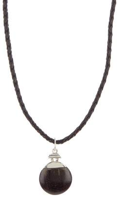 LINK-UP Sterling Silver & Black Wood Round Pendant Leather Necklace