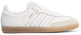 adidas Samba Suede-trimmed Ostrich-effect Leather Sneakers - White