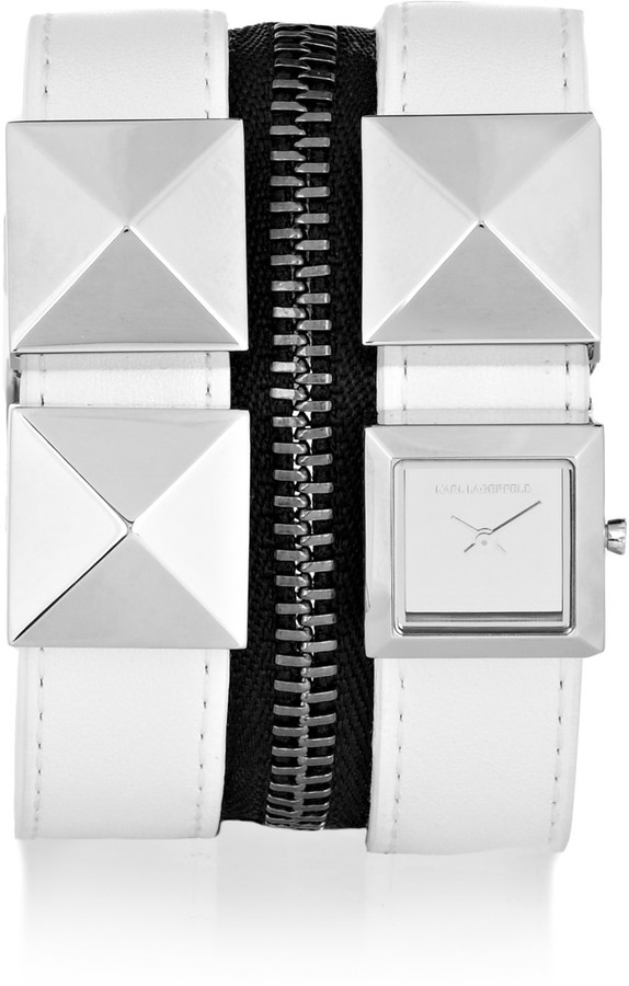 Karl Lagerfeld Zip studded leather watch