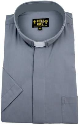 62f41f5539 Mercy Robes Mens Short Sleeves TAB Collar Clergy Shirt (
