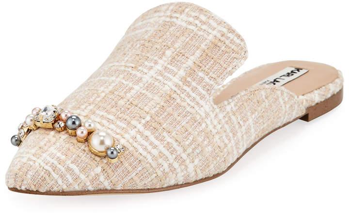Karl Lagerfeld Paris Nola Embellished Tweed Slide Mules
