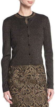 Escada Long-Sleeve Button-Front Cropped Cardigan