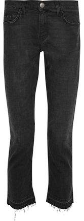 The Cropped Straight Distressed Mid-Rise Straight-Leg Jeans