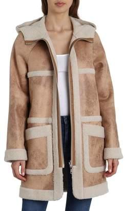 AVEC LES FILLES Reversible Faux Shearling Coat