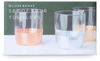Oliver Bonas Mixed Metallic Set of Four Glass Tumblers