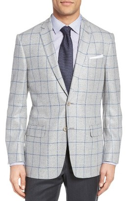 Men's Hart Schaffner Marx Jetsetter Classic Fit Windowpane Silk & Wool Sport Coat $495 thestylecure.com