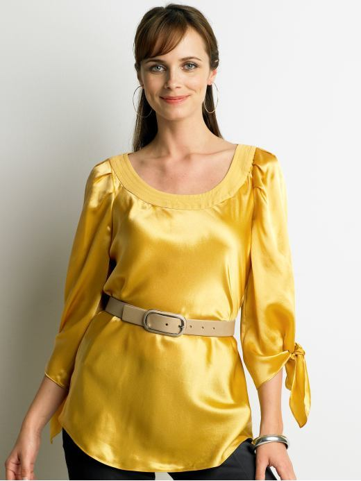 Silk tie-sleeve blouse