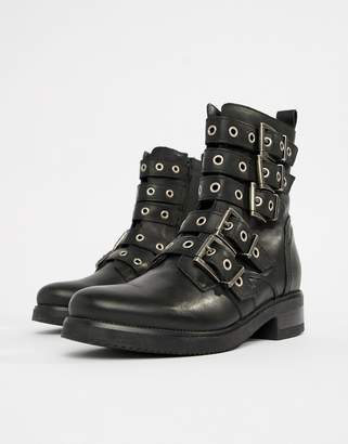 Aldo multi buckle leather ankle boots