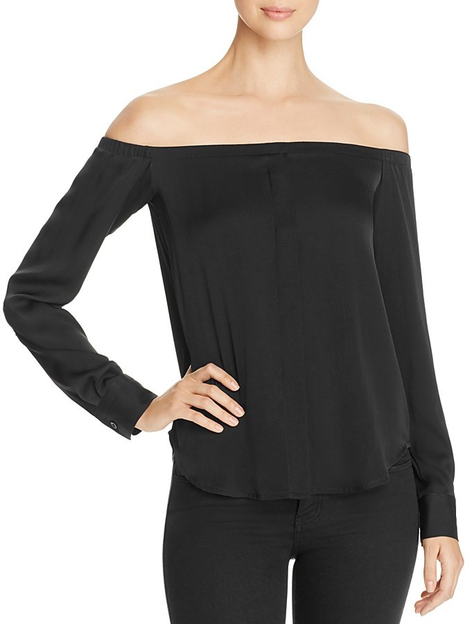DKNY DKNY Off-the-Shoulder Silk Blouse
