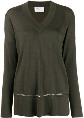 Snobby Sheep sequinned stripe loose-fit jumper