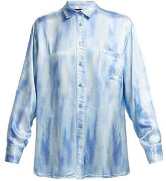 Sies Marjan - Sander Patch Pocket Tie Dye Satin Shirt - Womens - Blue White