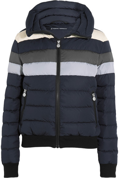 Perfect Moment - Queenie Striped Quilted Down Ski Jacket - Black
