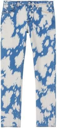 Burberry Straight Fit Monogram Motif Bleached Denim Jeans