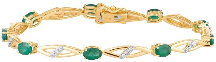 10k Gold Emerald & 1/4 Carat T.W. Diamond Bracelet